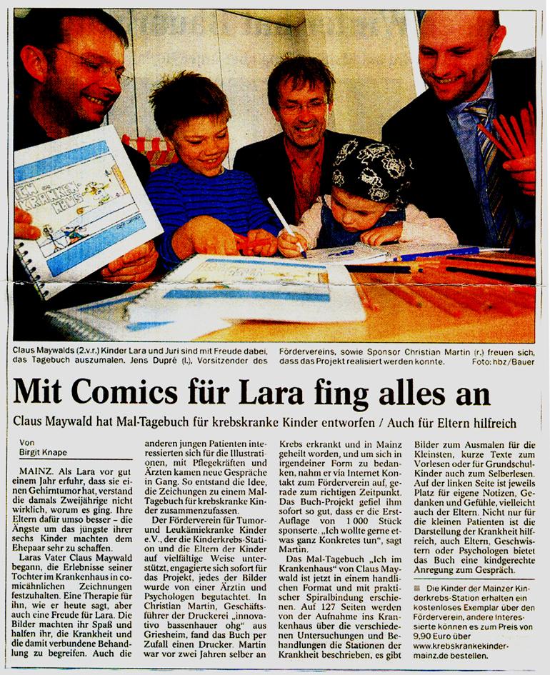 Claus Maywald Ich im Krankenhaus Malbuch Förderverein Tumor und Leukämiekranke Kinder Mainz