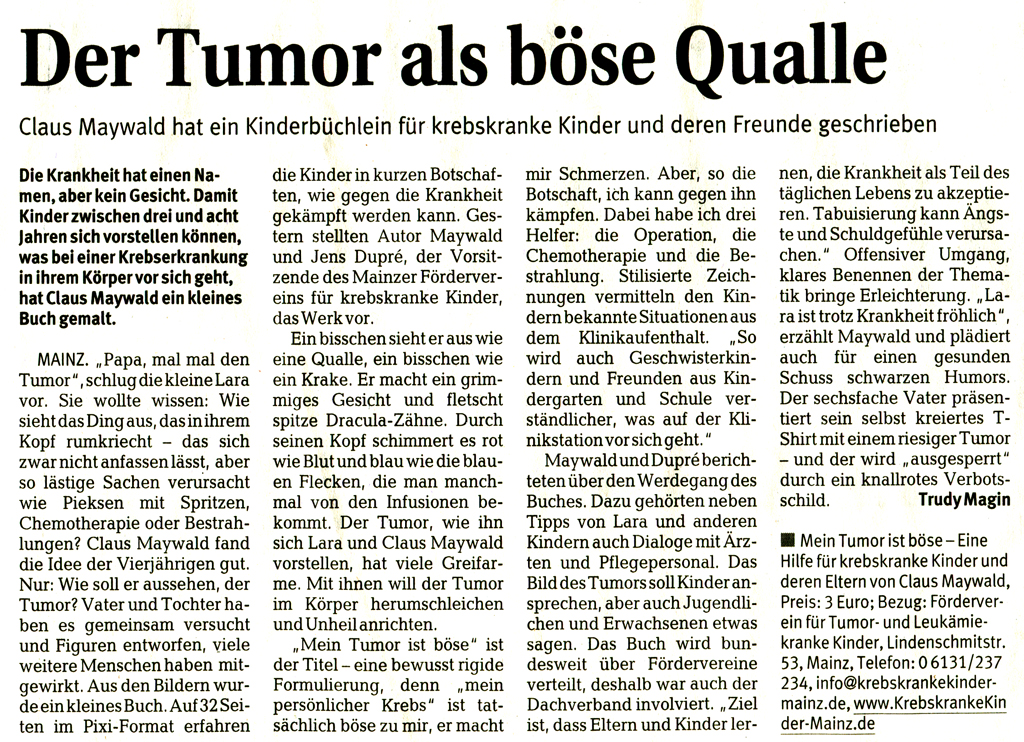 Claus Maywald Mein Tumor ist böse Mainzer Rhein Zeitung 2 6 2010