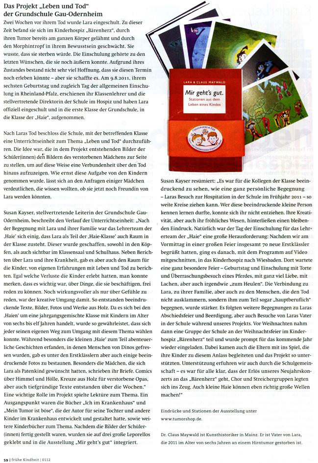 Claus Maywald Projekt Leben und Tod Grundschule Gau-Odernheim