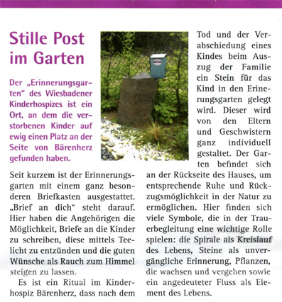 Claus Maywald Briefkasten für Verstorbene Kinderhospiz Bärenherz