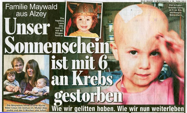 Lara Maywald Bildzeitung Artikel über Lara 28 6 2012 Claus Maywald