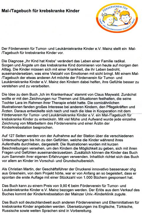 Claus Maywald Malbuch Ich im Krankenhaus Förderverein Tumor und Leukämiekranke Kinder e.V. Mainz
