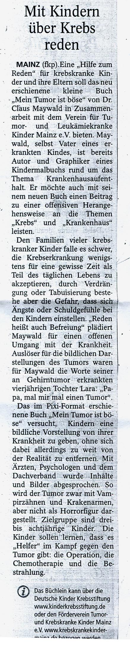 Claus Maywald Mein Tumor ist böse Allgemeine Zeitung Mainz