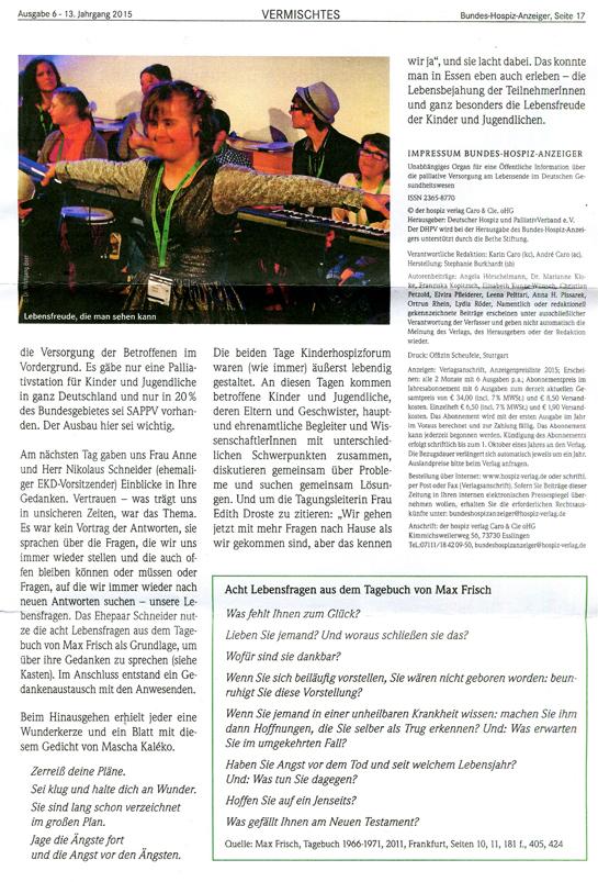 Claus Maywald Hospizforum 2015 Deutscher Kinderhospizverein