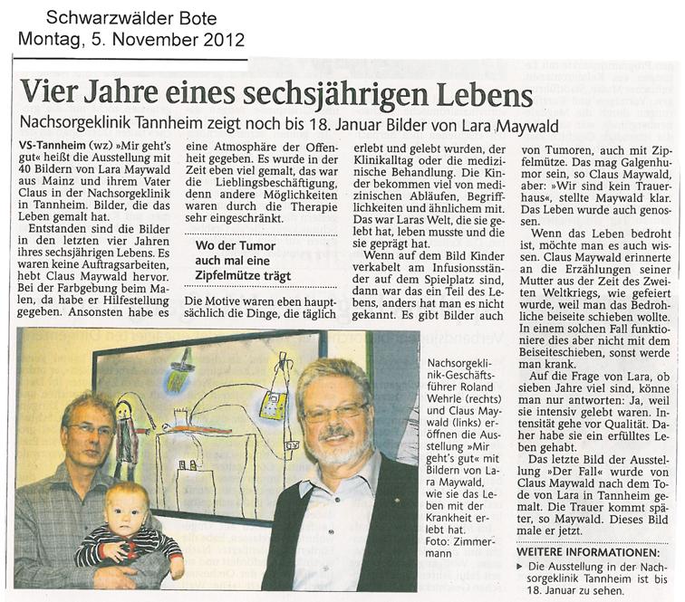 Claus Maywald Lara Maywald Ausstellung Mir geht's gut Nachsorgeklink Tannheim Schwarzwälder Bote