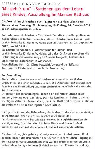 Claus Maywald Lara Maywald Ausstellung Mir geht's gut Rathausgallerie Mainz  Pressemitteilung Mir gehts gut