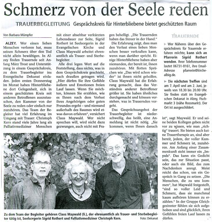 Allgemeine Zeitung Gesprächskreis für Trauernde Claus Maywald Christopf Kern Sigrid Rothert Alzey 6 4 2016